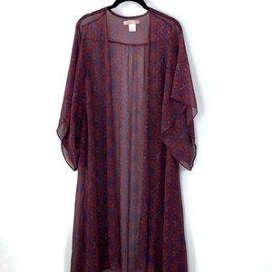 Band of Gypsies Burgundy Print Long Sheer Kimono M